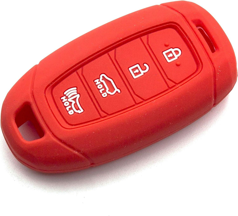 Orange LIGHTKOREA 4 Button Silicone fob Remote Smart Key Case Protector Cover Accessories Compatible with Hyundai 2018 2019 2020 Kona Elantra GT i30 Tucson Santa Fe Azera Santa Fe Veloster