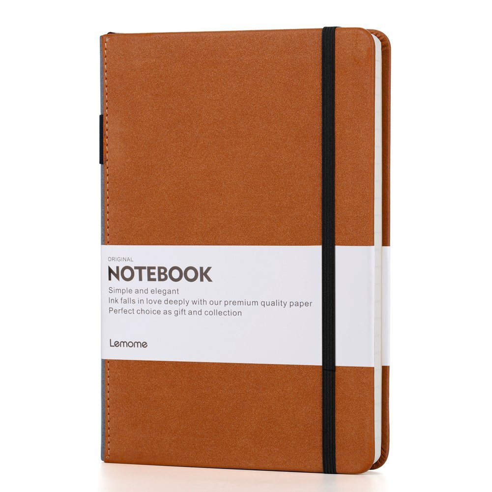 Lemome Classic Notebook, Executive Leather Journal Lined, Large, Banded, Hard Cover, 180Pages/90Sheets, 8.5 x 5.9inch