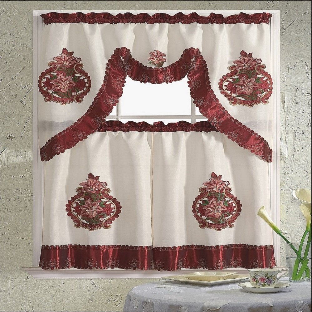 B&H Home Majestic Floral Embroidered 3-Piece Kitchen Curtain Window Treatment Set Majestic Burgundy