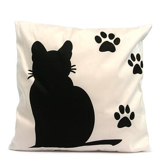 Black Ginger Cojín de Fondo Blanco con diseño de Gato Negro ...