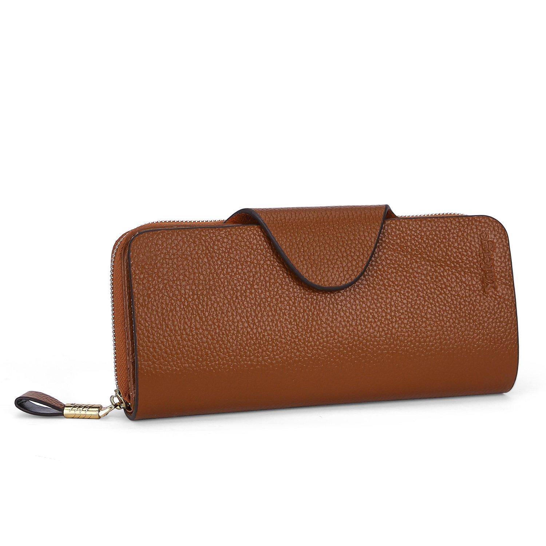 Yafeige Large Luxury Women's RFID Blocking Tri-fold Leather Wallet Zipper Ladies Clutch Purse(Brown1)