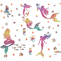 Easma Mermaid Wall Decals Peel and Stick Sticker Girls Bedroom Decor and Stars&Bubbles Mermaid 1