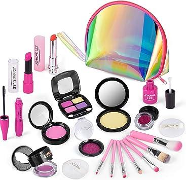 AMOYEE Juguetes de Maquillaje Niñas, 21 Piezas de Juego de Maquillaje niñas pequeños con Bolsa de cosméticos, cumpleaños para niñas de 5 6 7 8 9 años: Amazon.es: Juguetes y juegos
