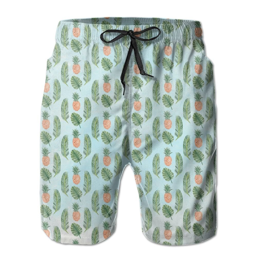 ZAPAGE Man Quick Dry Beach Shorts Pineapple Leaf Beach Shorts Swim Trunks With Pockets