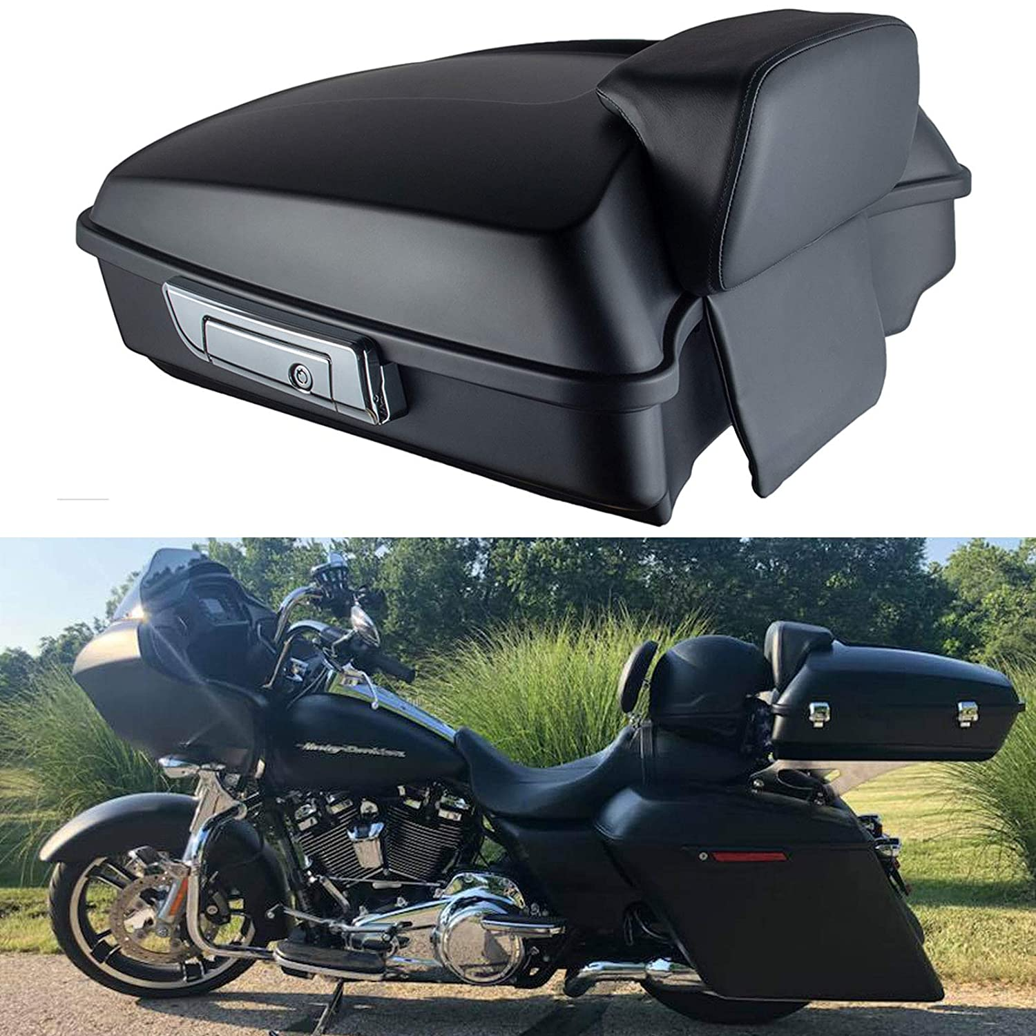 Matte Chopped Tour Pak Pack Trunk W// Latch For Harley Touring Road King 2014-Up