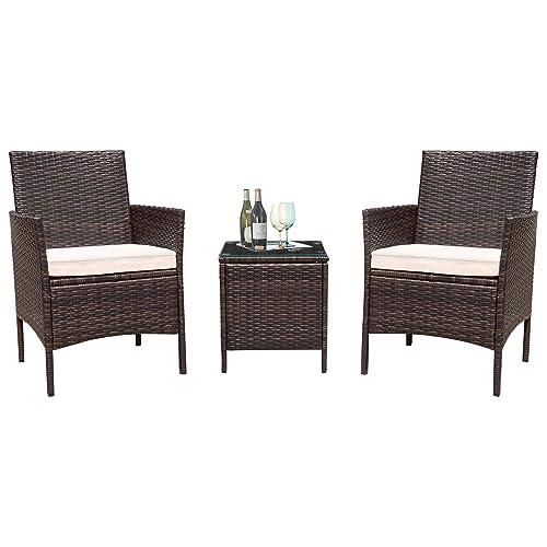 Flamaker 3 Pieces Patio Furniture Set Outdoor Wicker Patio Furniture Sets  Cushioned PE Wicker Bistro Set