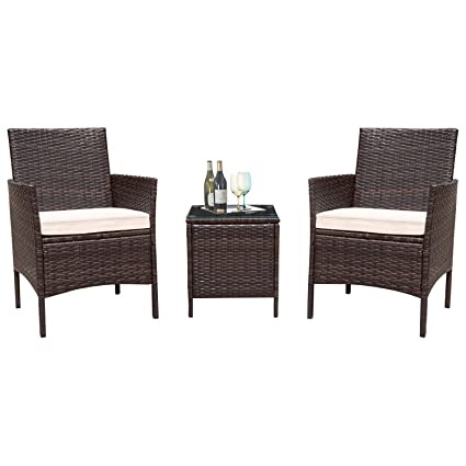 Flamaker 3 Pieces Patio Furniture Set Outdoor Furniture Sets Cushioned PE Wicker Bistro Set Rattan Chair Conversation Sets with Coffee Table (Brown)