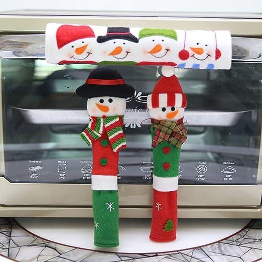 Navidad muñeco de nieve cubierta de la manija del refrigerador ...