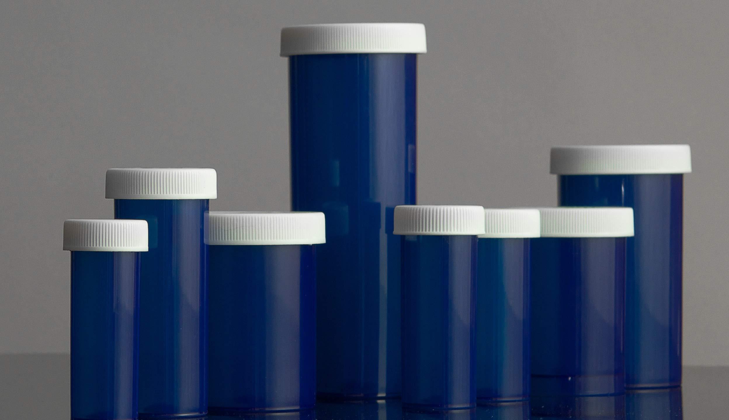 Blue Prescription Pharmacy Safety Cap Vials 40 Dram, Case of 50