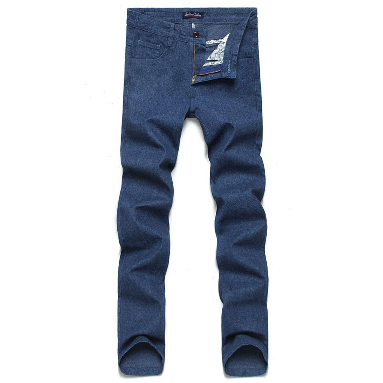 Men's Cotton and Linen Casual Pants 2018 Autumn and Winter hot New Slim Waist Straight,Denim Blue,42