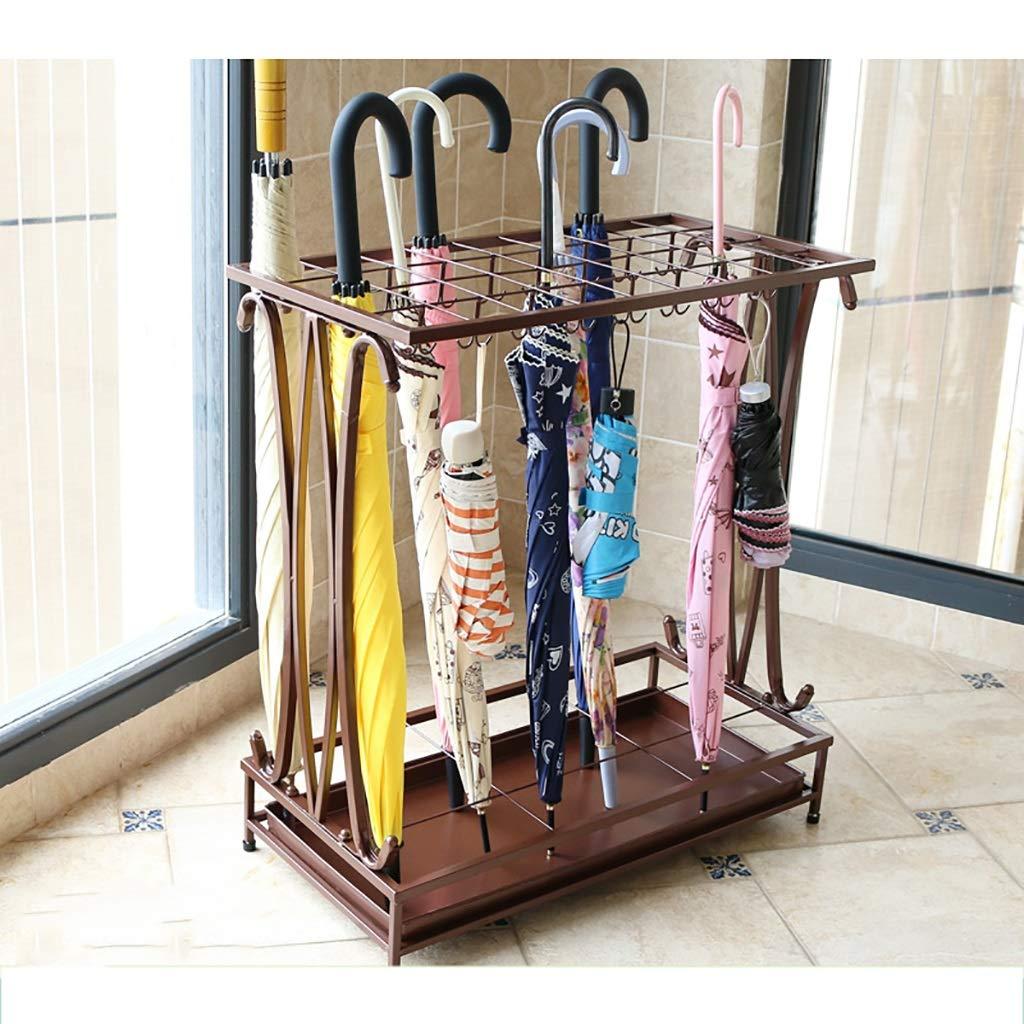 LwUmbrella stand Metall-Tropfschale Freistehender Halter für Lange/Kurze Regenschirm-Stöcke Spazierstöcke Schirmständer Metall Freistehender Halter (Farbe : Brown)