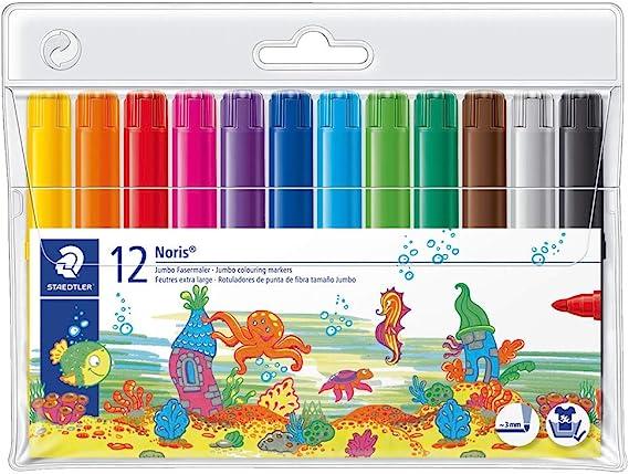 Staedtler Noris Club 340 WP12. Rotuladores de colores de punta de fibra. Estuche con 12 marcadores surtidos.: Amazon.es: Oficina y papelería