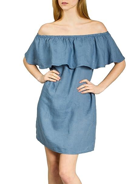 CASPAR SKL014 Vestido Corto de Verano de Lino para Mujer con Escote Hombros Caídos Volante,