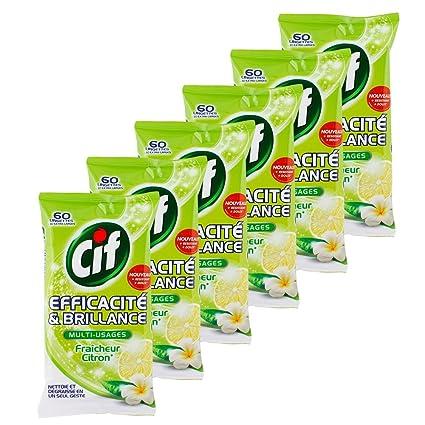 Cif toallitas limpiadoras multiusos limón x 60 – Lote de 3