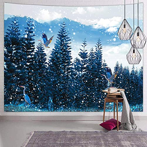 Hexagram Blue Nature Wall Tapestry for Bedroom Colorful Landscape Forest Tapestry Wall Hanging Spruce Tree Bird Winter Snow Tapestries Wall Decor