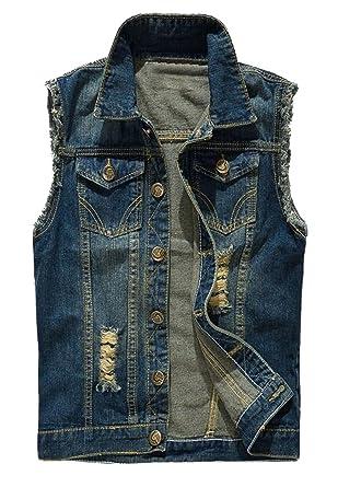 Wawaya Mens Cutoff Retro Ripped Jean Coat Denim Vest Jacket