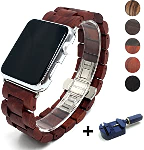 Seoaura Compatible for Apple Watch Band 42mm 44mm, Natural Handmade Wooden Replacement iWatch Series 6 5 4 3 2 1 SE Sports Strap Wristband - Link Remover as a Gift (Redwood, 42mm/44mm)