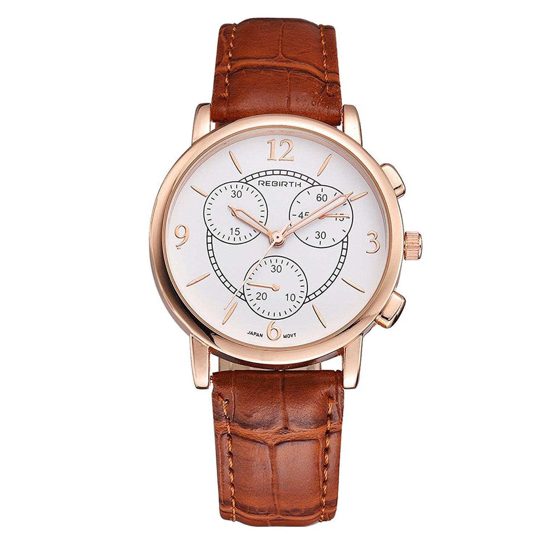 レディース用アナログクォーツ時計、ガールズレディースソフトレザーストラップ腕時計防水ドレスカジュアルスタイル B06Y6238SK