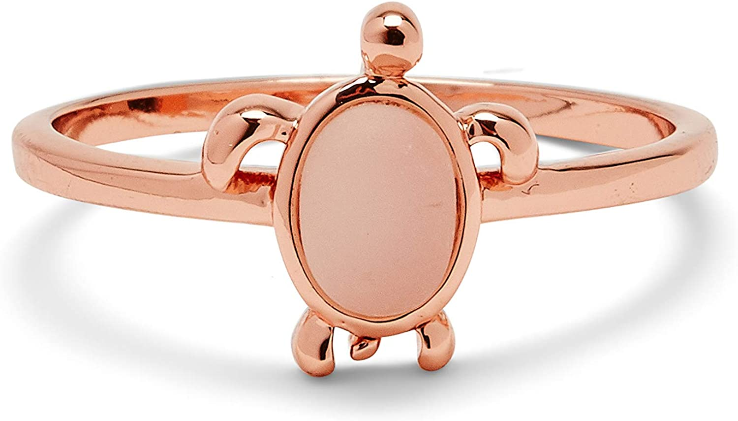 Sterling Silver Band Pura Vida Rose Gold-Plated Sea Turtle Ring Sizes 5-9