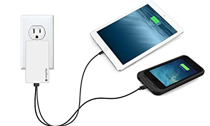 release date: 449a6 8fc20 mophie Dual Port High Power (4.2 Amp) Wall Travel Charger for mophie Juice  Pack Battery Case, Powerstation, Tablets & All USB Powered Devices - White