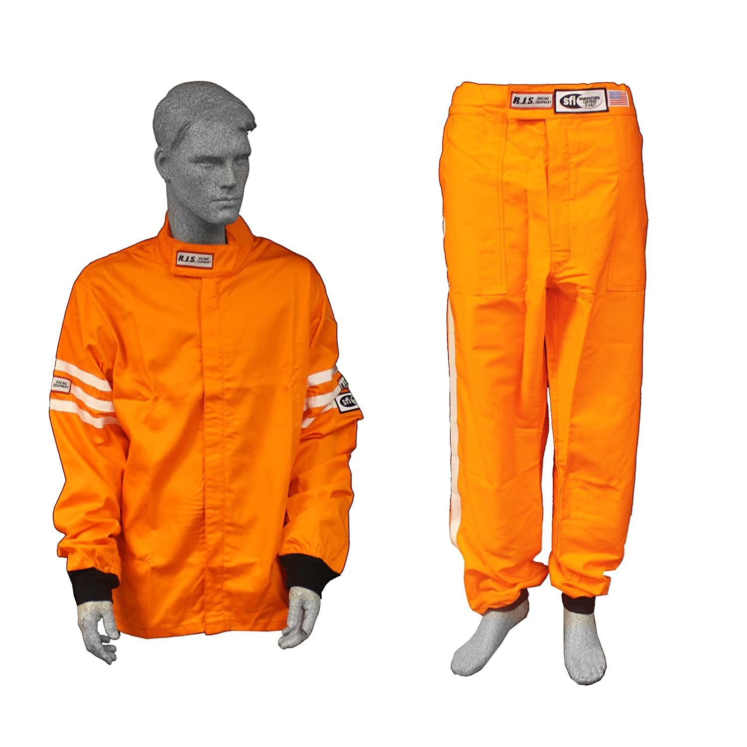 Racerdirect RJS Racing SFI 3.2A/1 Classic FIRE Suit Race Jacket & Pants Orange Size Adult XL RJS Racing Equipment