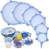 Tapas elásticas de silicona, GLURIZ 6 Piezas envoltura plástica reutilizable alternativa, fundas de ahorro, Coberturas de com