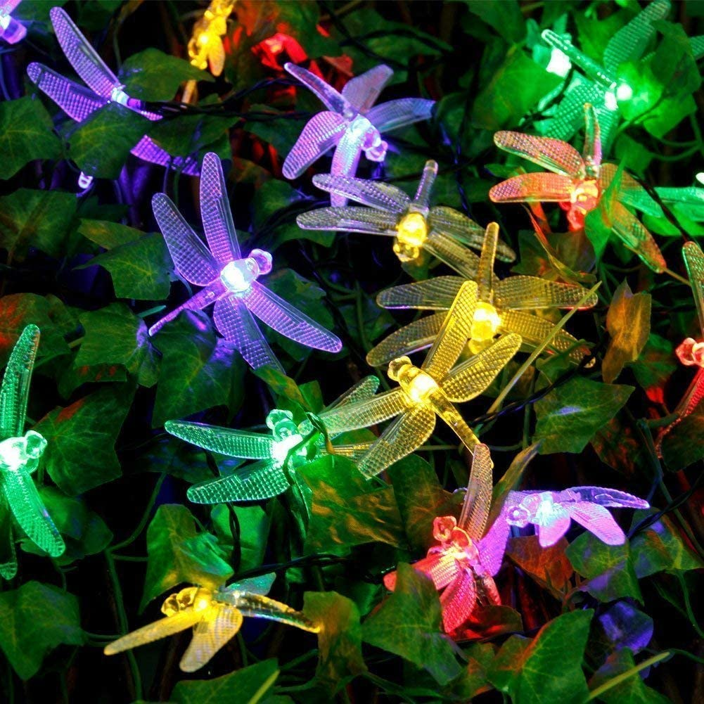 Qedertek Dragonfly Solar String Lights, 20ft 30 LED Waterproof Fairy Decoration Lighting for Indoor/Outdoor Patio, Lawn, Garden, Party, Wedding, Holiday, Thanksgiving, Christmas (Multi Color)