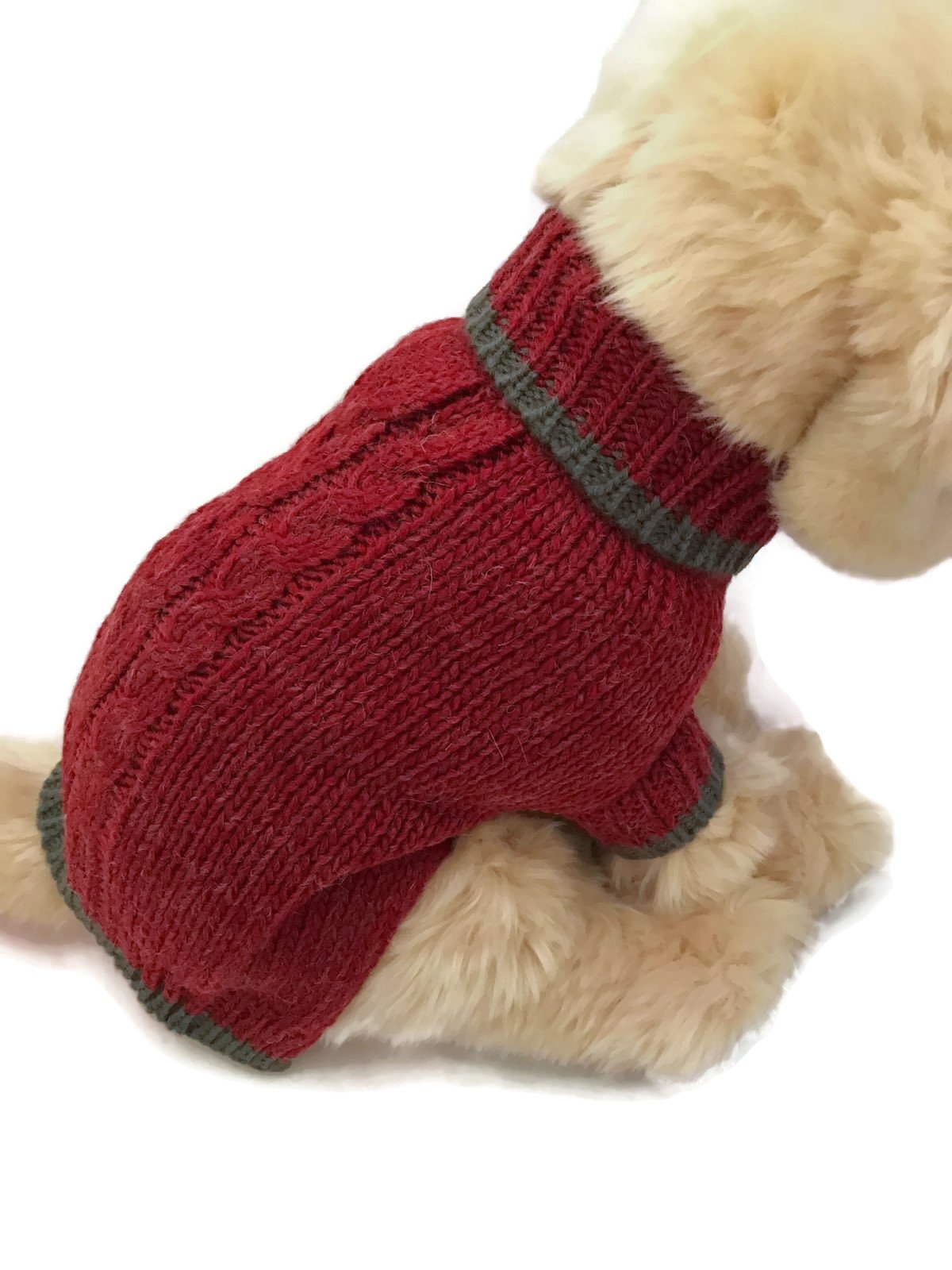 Le Petit Chien Small Dog Puppy Sweater (Small, Burgundy)