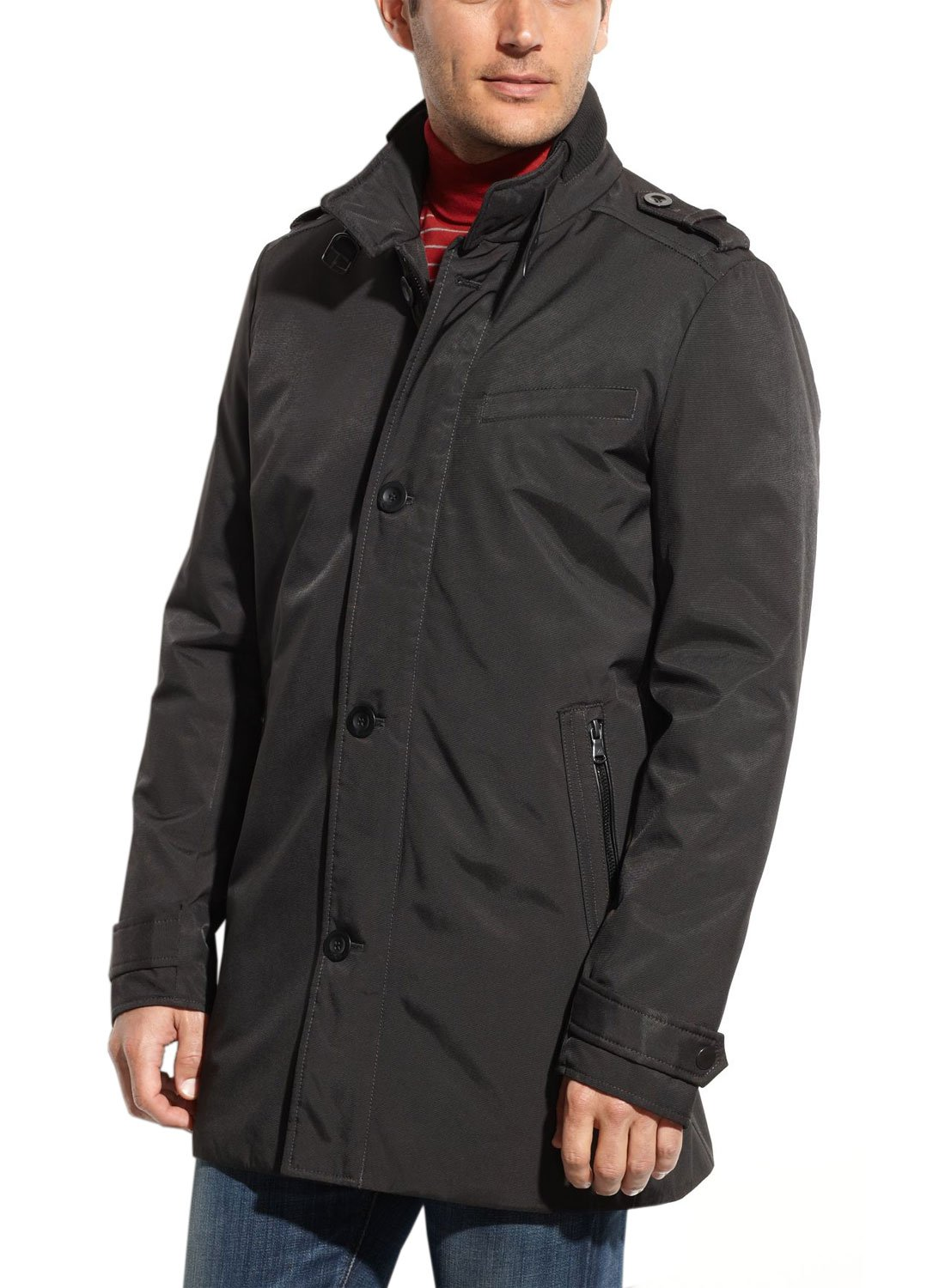 Kenneth Cole New York Ottoman Black New Military Full Zip Trenchcoat (Medium) by Kenneth Cole