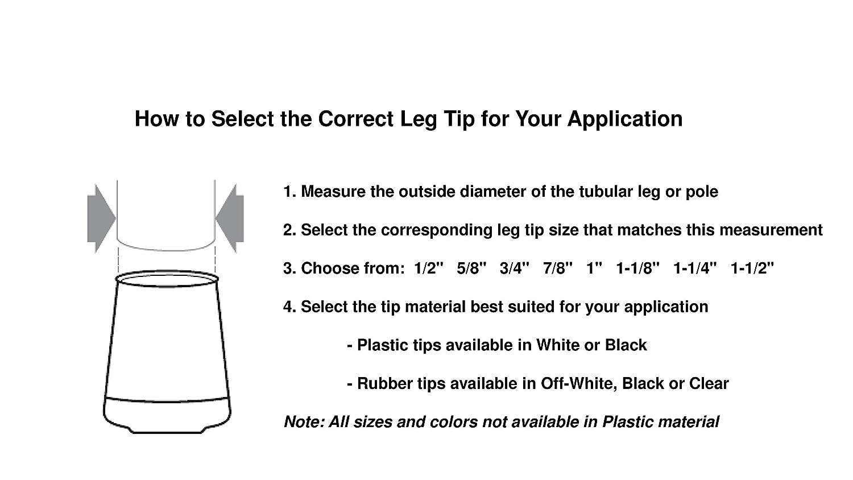 Shepherd Hardware 8611E Leg Tips 7/8 inch Inside Diameter Rubber Chair Leg Tips, 24 Pack, Clear