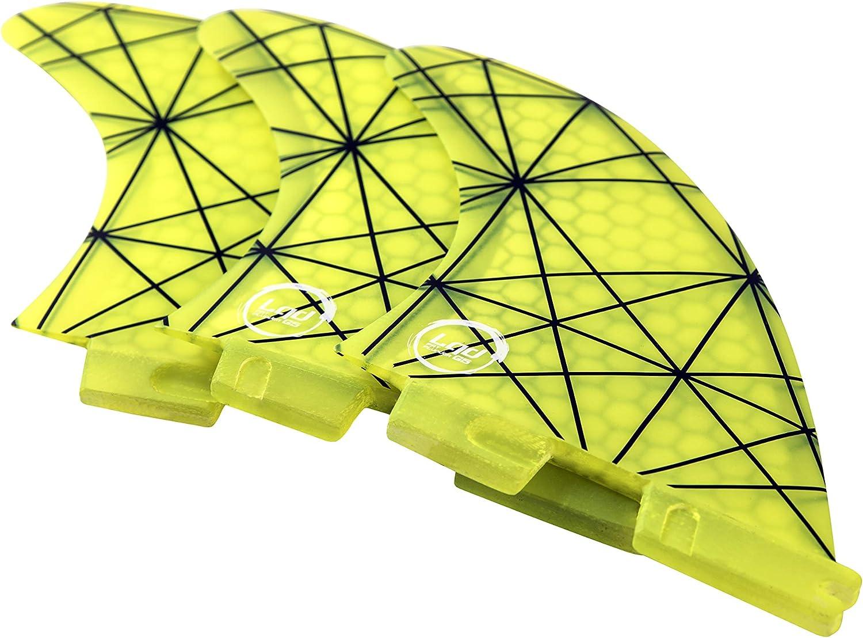 Liquida FCS2  Thruster Finnen Set Medium, Glasfaser Honeycomb, gelb
