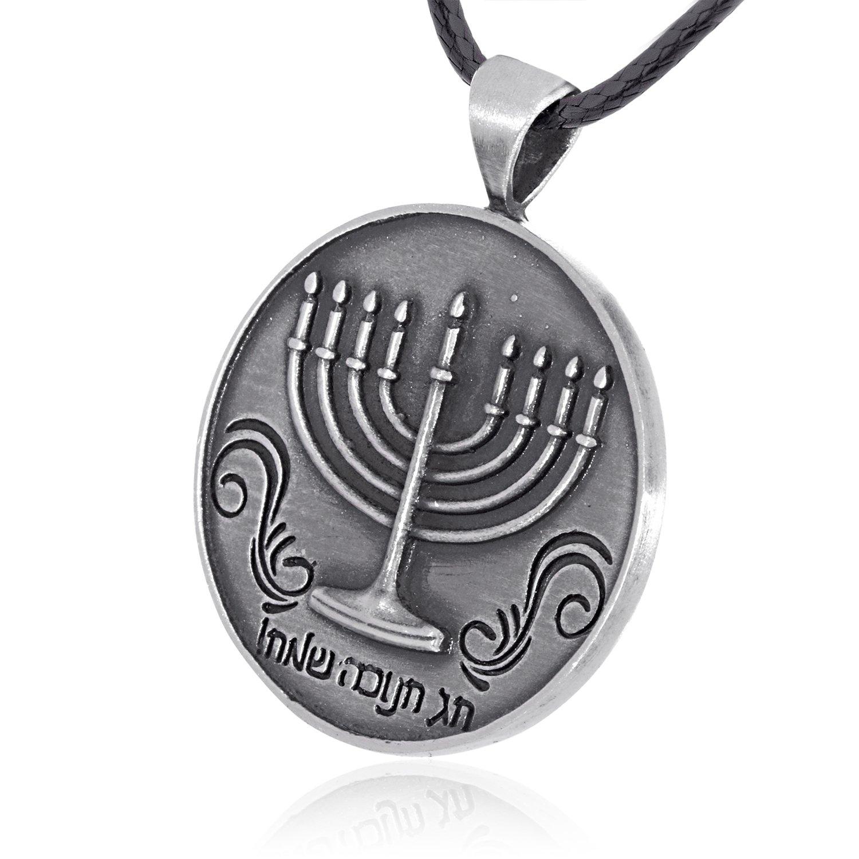 Dan's Jewelers Happy Hanukkah Jewish Menorah Pendant Necklace, Fine Pewter Jewelry by Dan's Jewelers (Image #2)