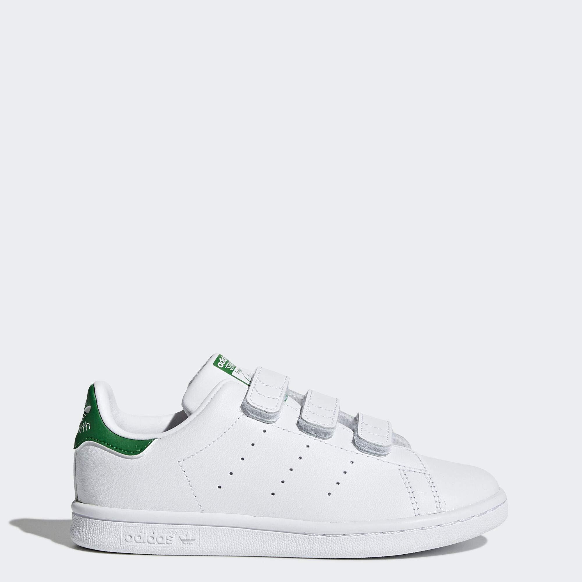 reputable site c4aee 3a359 adidas Originals Stan Smith Cloudfoam Sneaker, Footwear White/Green, 12 M  US Little Kid