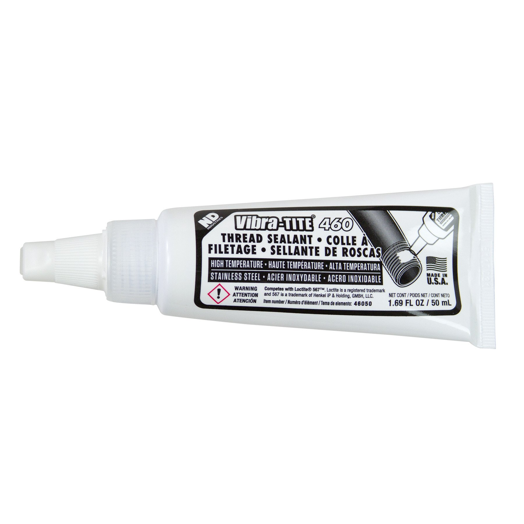 Vibra-TITE 460 General Purpose Stainless Steel Anaerobic Thread Pipe Sealant, 50 ml Tube, White by Vibra-TITE