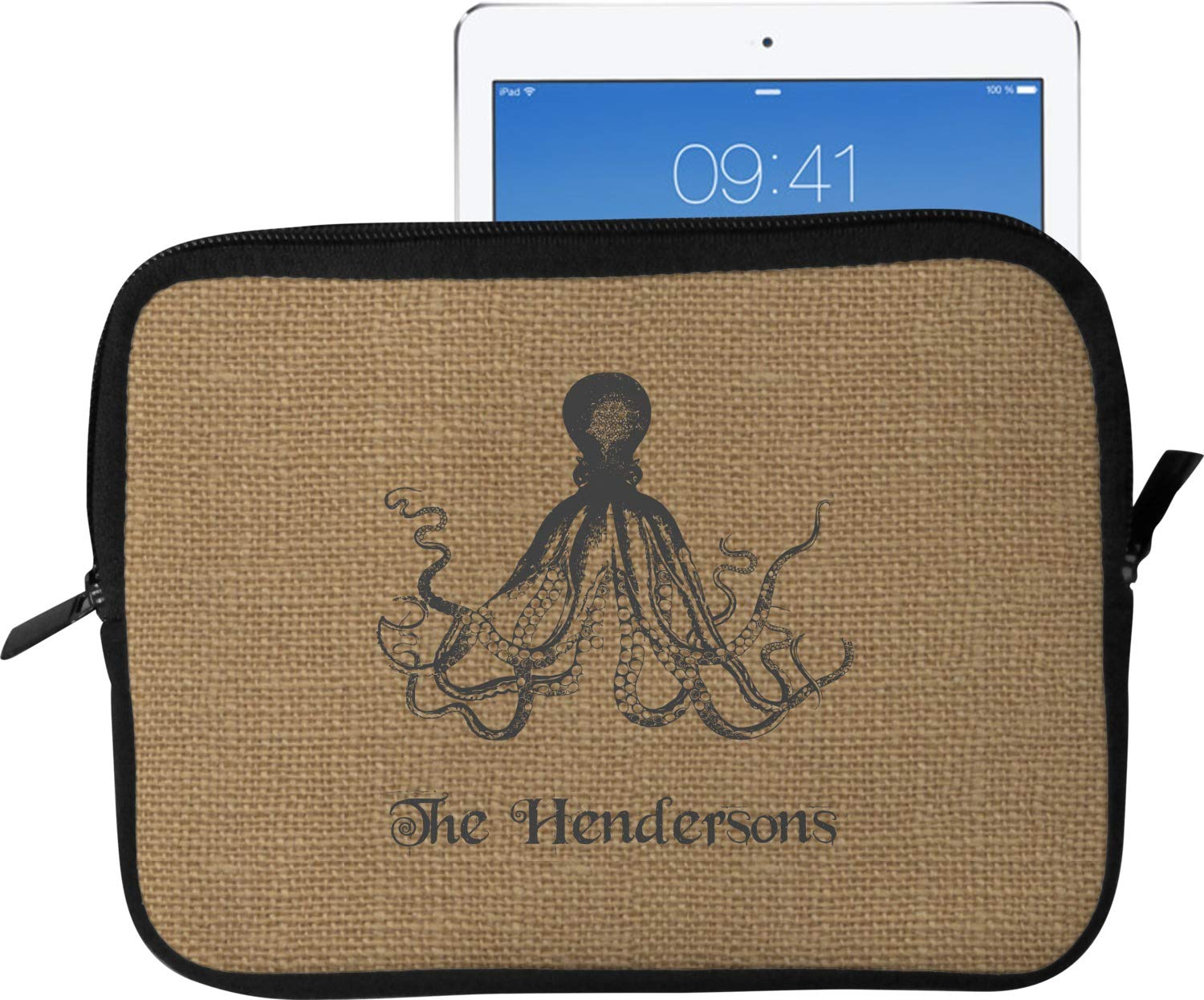 Octopus &黄麻布印刷タブレットケース/スリーブ(Personalized) Tablet Sleeve (Medium) (Approx. 12