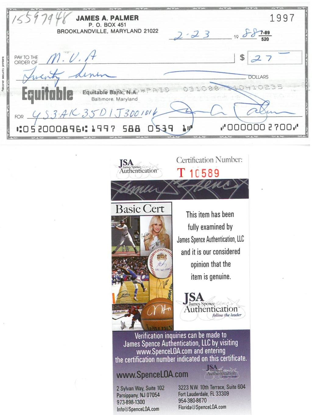 Jim Palmer Signed Authentic Autographed Cancelled Check JSA #T10589