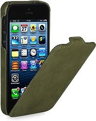 StilGut, UltraSlim, pochette exclusive de cuir véritable pour l'iPhone 5 & iPhone 5s d'Apple, Vert foncé (Edition Vintage)