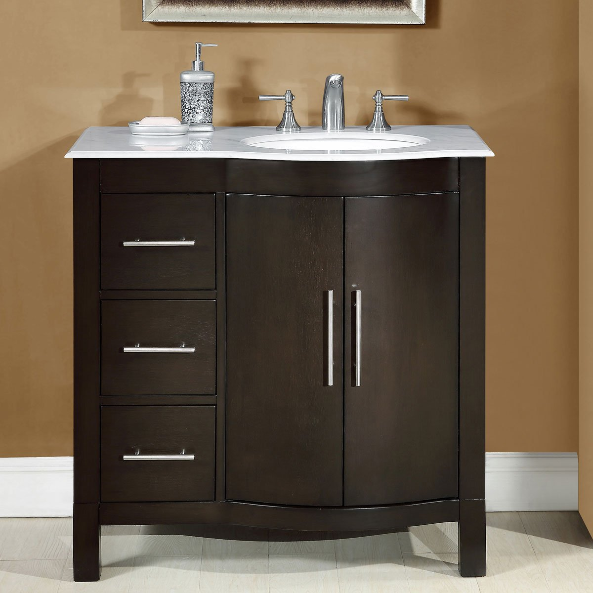 Silkroad Exclusive Carrara White Marble Top Off Center Single Sink Bathroom Vanity with Cabinet, 36 , Brown