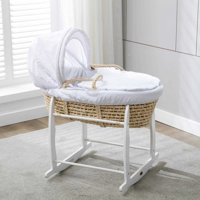 Mcc Couffin en osier gris et son support /à bascule avec habillage gaufr/é blanc 100/% coton