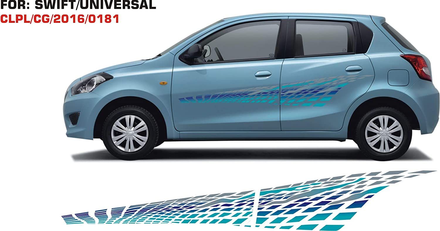 Automaze car side body graphics stickers vinyl sky blue both sides for maruti suzuki swift universal 0181 graphics for car body amazon in car