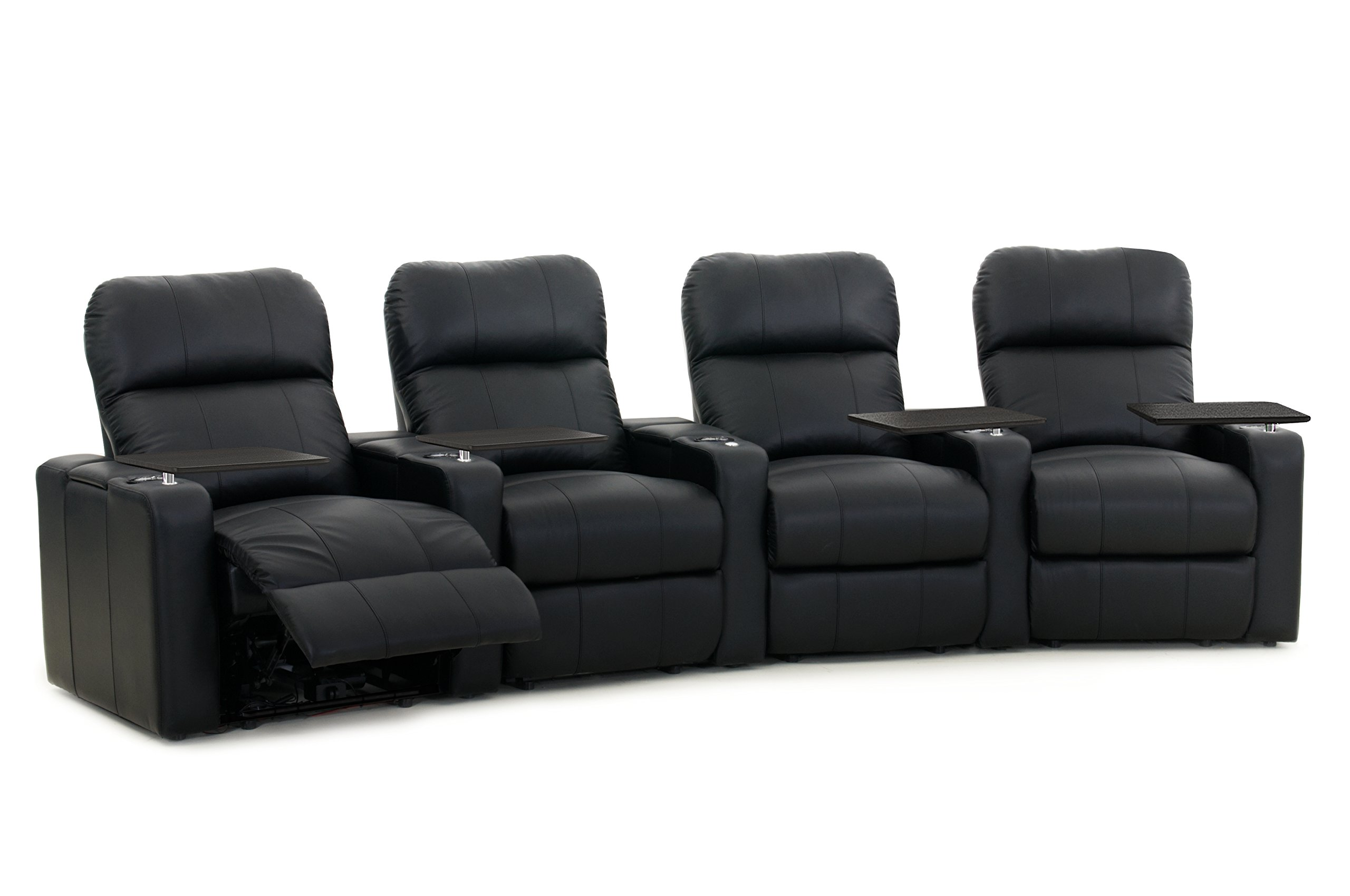 Octane Turbo XL700 Row of 4 Seats, Curved Row in Black Bonded Leather with Manual Recline