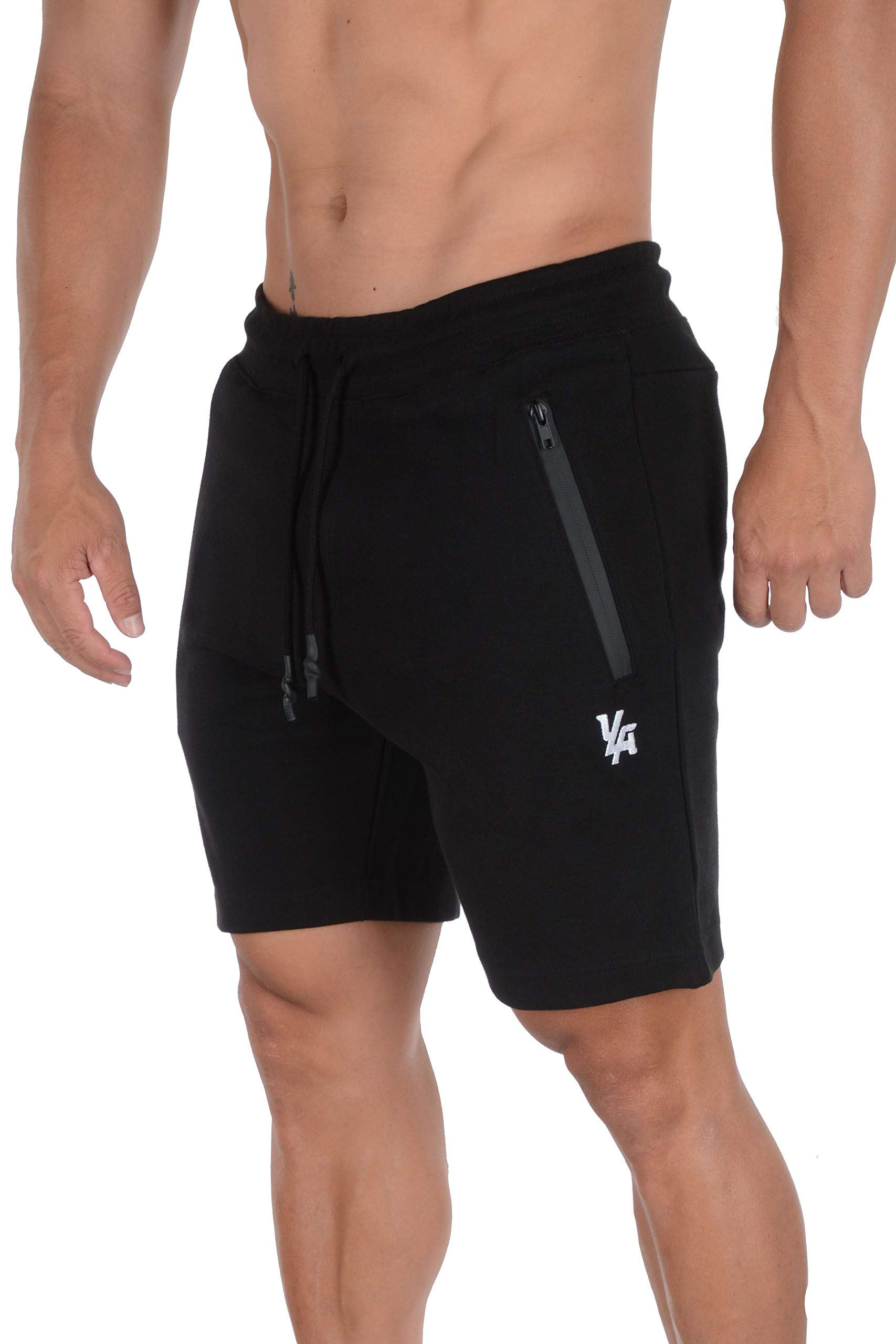 YoungLA Mens Shorts with Zipper Pockets | Casual Gym Training 108 | Black Small by YoungLA