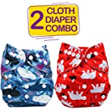 Bembika Cloth Diapers for Babies, Washable Reusable, Adjustable Sizes (2 Combo) (No Inserts Included)(Whale + Bear)