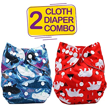 e0167733c2d Buy Bembika Baby s Polyester Whale and Bear Washable Reusable Adjustable  Cloth Diapers Combo (0-2 Years) - Pack of 2 Online at Low Prices in India -  Amazon. ...