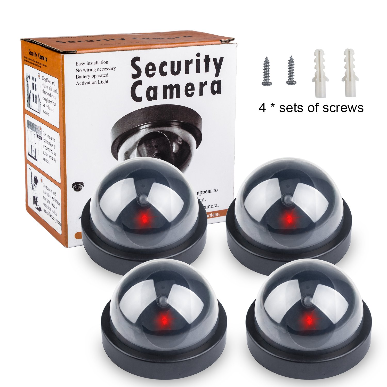 4 Pack Fake Dummy Camera, Beinhome Dummy Fake Security CCTV Dome Camera with Flashing Red LED Light with Warning Security Alert Sticker Decals