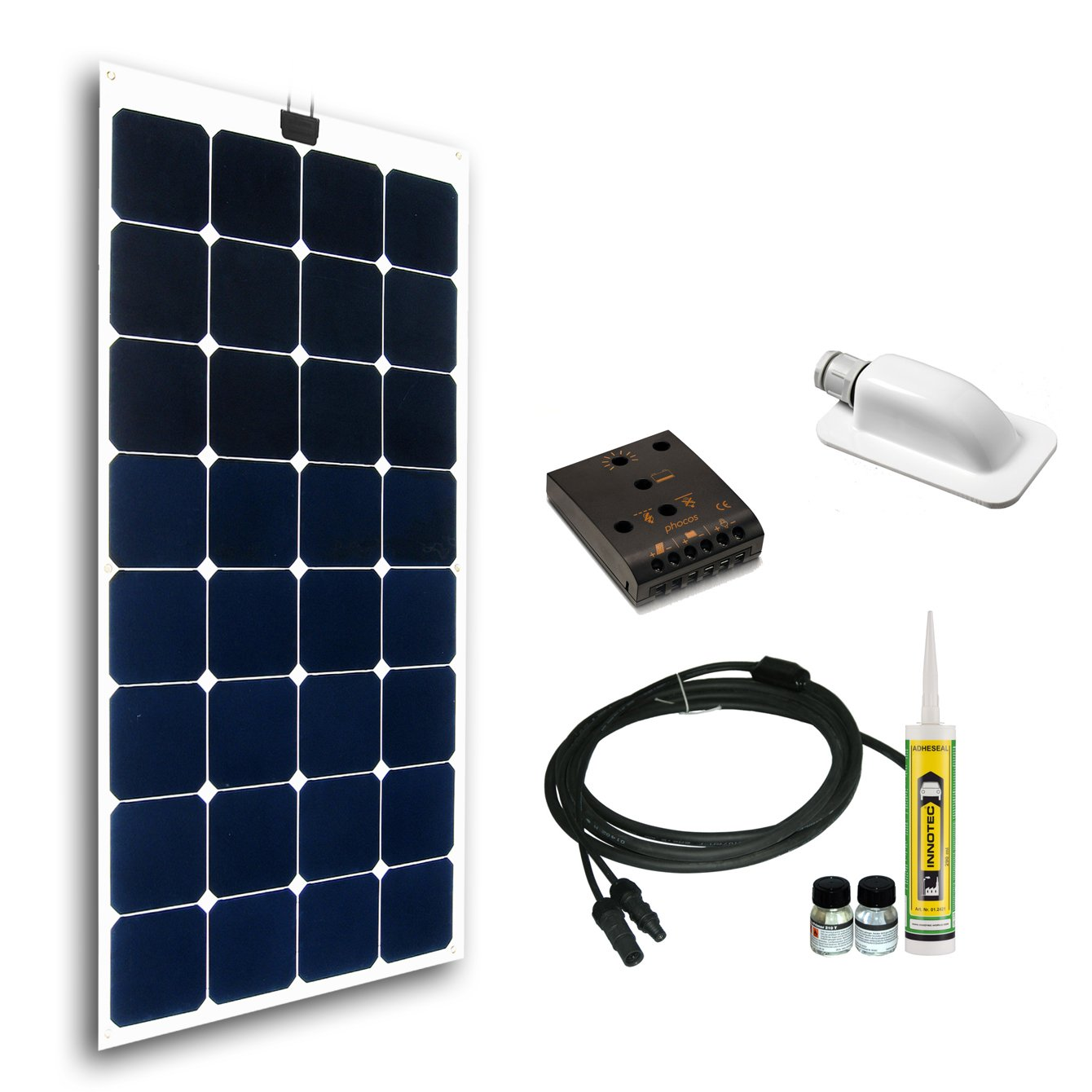Cleversolar 119233KPS Flexible Monokristalline Solarmodul Kit, 100 W