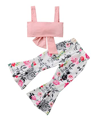 1dc1fafe28ed0 Toddler Kids Girls Bowknot Tube Tops+Floral Bell-Bottom Flare Pants 2Pcs  Baby Girls