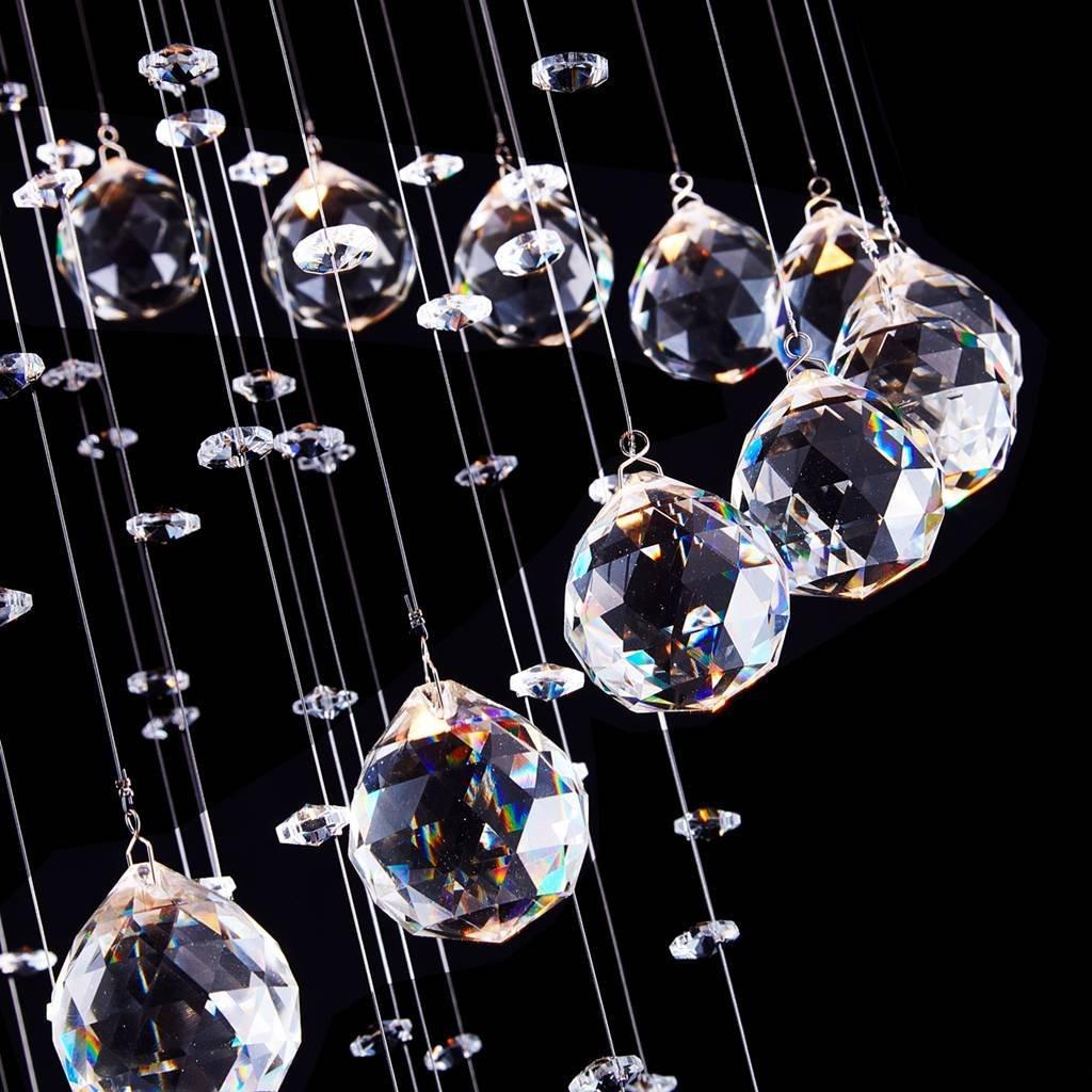 Saint Mossi Chandelier Modern K9 Crystal Raindrop Chandelier Lighting Flush mount LED Ceiling Light Fixture Pendant Lamp for Dining Room Bathroom Bedroom Livingroom 8 GU10 Bulbs Required D24 X H71 by Saint Mossi