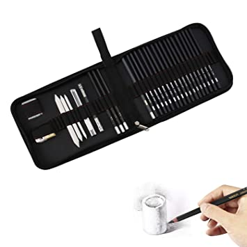 Paper Erasable Pen First Sketch Pencil Charcoal Pencils Style 1 Style 2 Sketching Pencil Set Drawing Pen Charcoal Sketch Included Graphite Pencils 30pcs Total for Beginners Artist