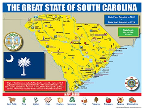 Amazon.com : Gallopade Publishing Group South Carolina State Map for ...